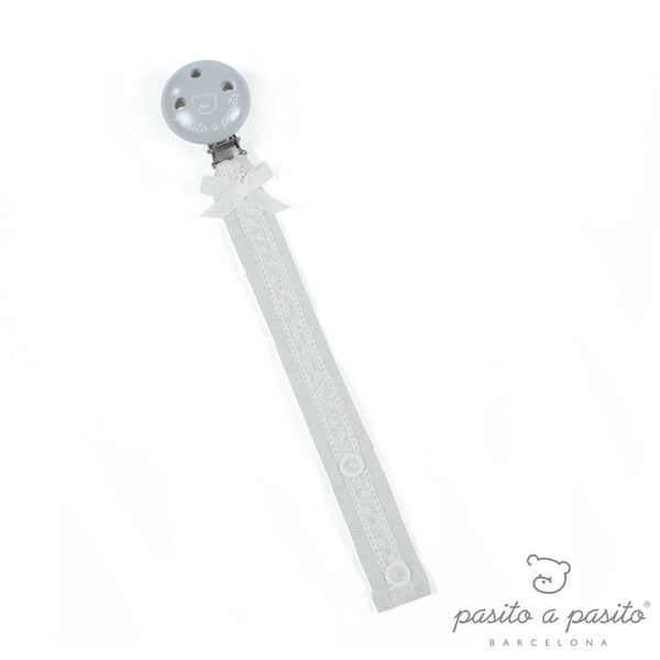 Pasito a Pasito Oxford Pale Grey Bow & Lace Dummy Clip