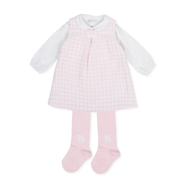 AW19 Tutto Piccolo Girls Pink Pinafore Dress Set 7412