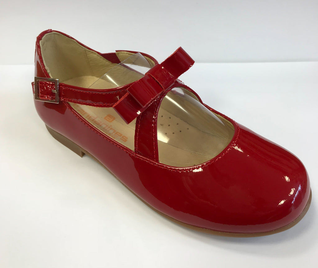 Andanines Girls Red Patent Mary Janes With Bow Buckle - Liquorice Kids