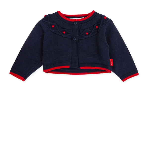 AW19 Tutto Piccolo Baby Girls Navy Blue Cardigan 7500