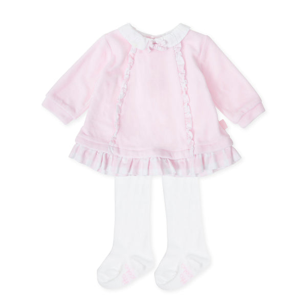 AW19 Tutto Piccolo Baby Girls Pink Velour Dress & Tights 7784