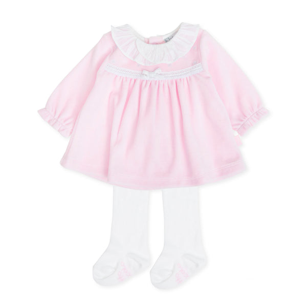 AW19 Tutto Piccolo Baby Girls Pink Velour Stars Dress & Tights 7785