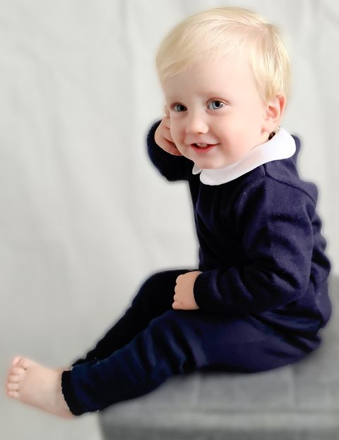 Aurea Peter Pan Collar Boys Navy Blue Knit Tracksuit