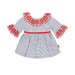 SS20 Tutto Piccolo Girls Red & Blue Stripe Dress 8243