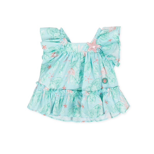 SS20 Tutto Piccolo Girls Green & Pink Starfish Dress 8276