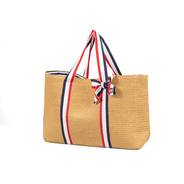 SS20 Tutto Piccolo Navy Blue, White & Red Stripe Beach Bag 8454