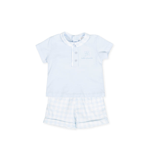 SS20 Tutto Piccolo Boys Blue & White Check Short Set 8582