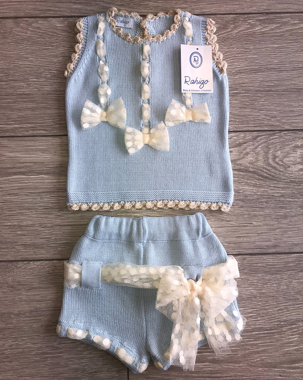 SS18 Rahigo Girls Pale Blue Knitted Bows Shorts Set