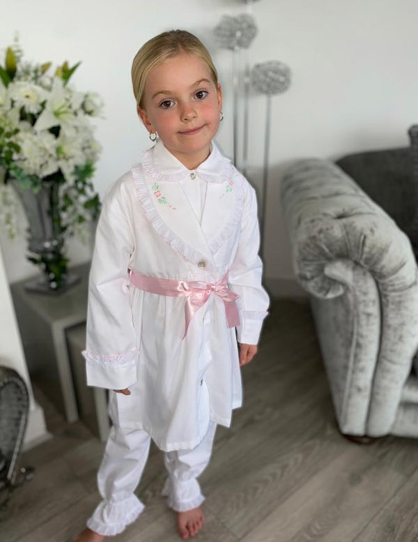 AW20 Salero Spanish White and Pink Pyjamas and Dressing Gown Set (can personalized)