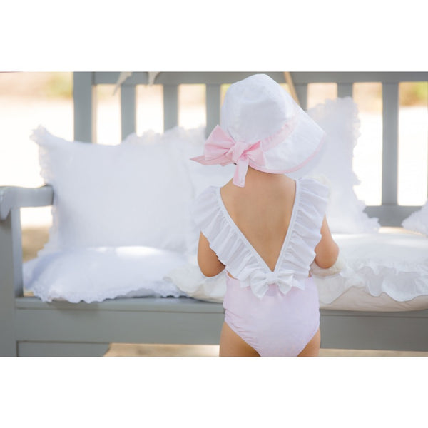 SS19 Patachou Girls Pink & White Bow Swimming Costume