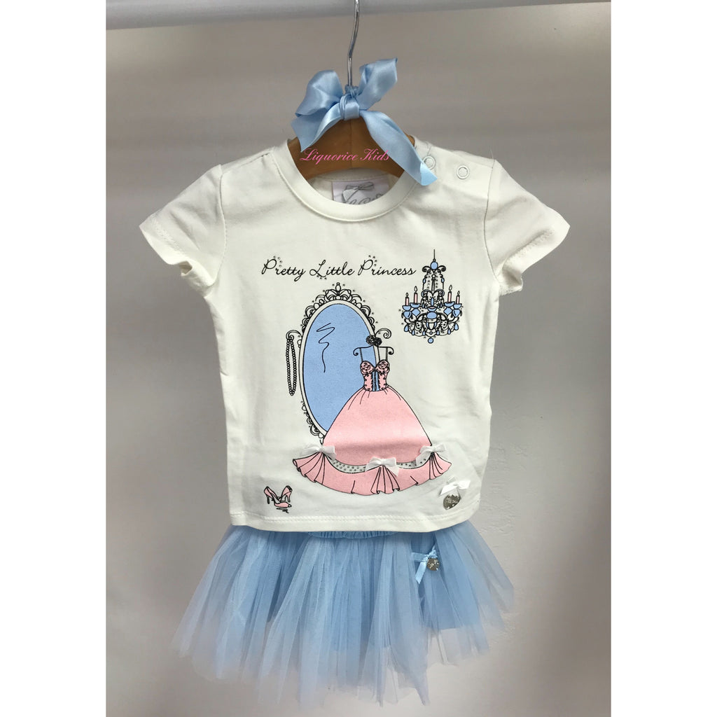 SS18 Le Chic Toddler Girls Princess Top & Blue Tulle Skirt Set