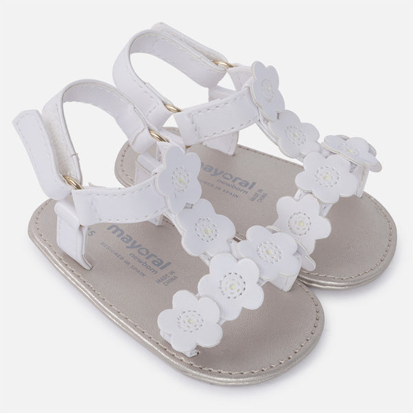 SS18 Mayoral Baby White Soft Sole Sandals With Flower Detail 9813