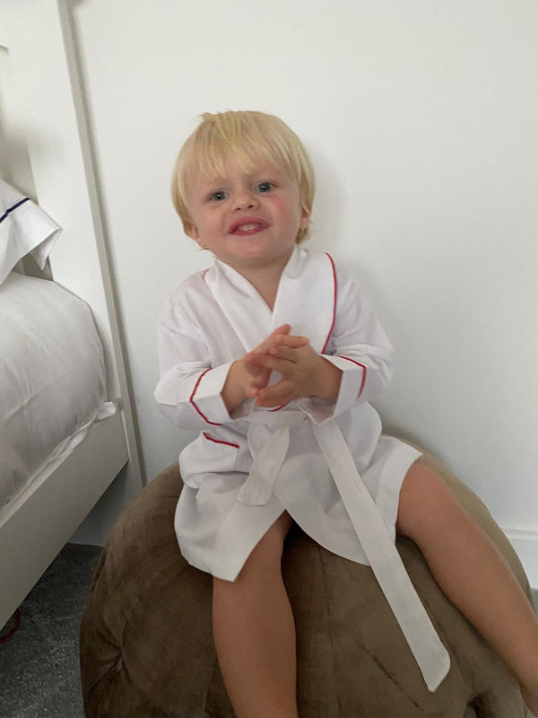AW20 Salero Spanish Boys White and Red Pyjamas and Dressing Gown Set (can personalized)