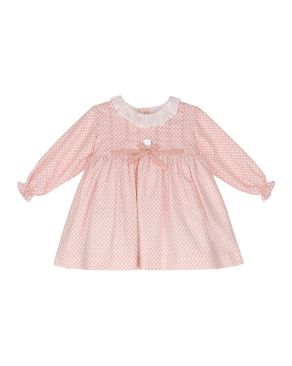 AW18 Tartaleta Girls Pink & Ivory Tie Bow Dress