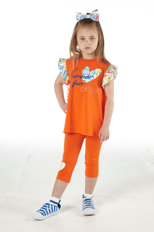 SS21 A Dee Girls Luna Porto Orange Sky Leggings Set