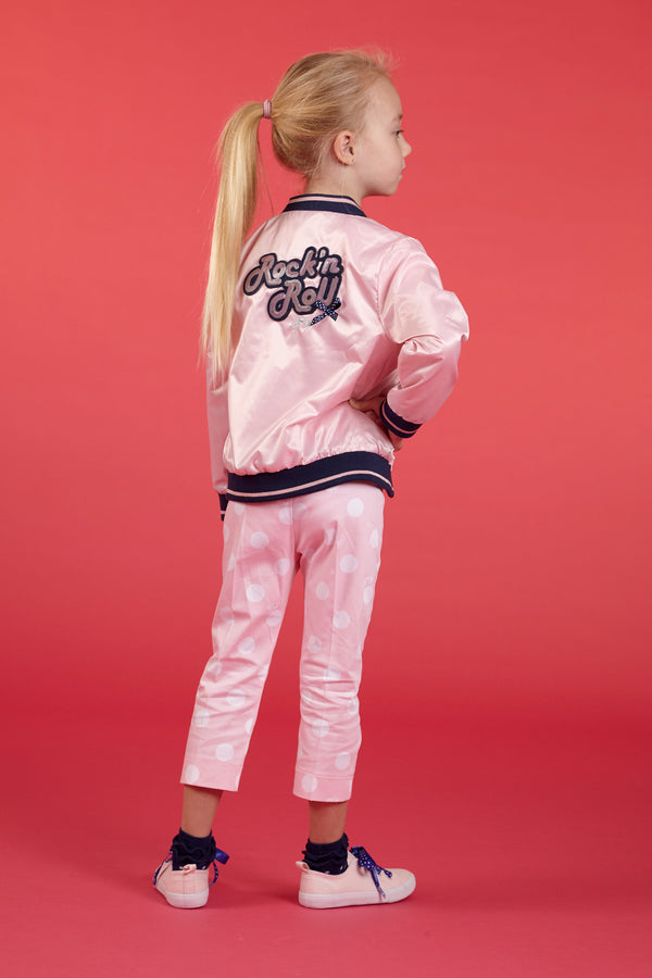 SS18 A*Dee Girls Jojo Pink Rock N Roll Dolls Satin Bomber Jacket