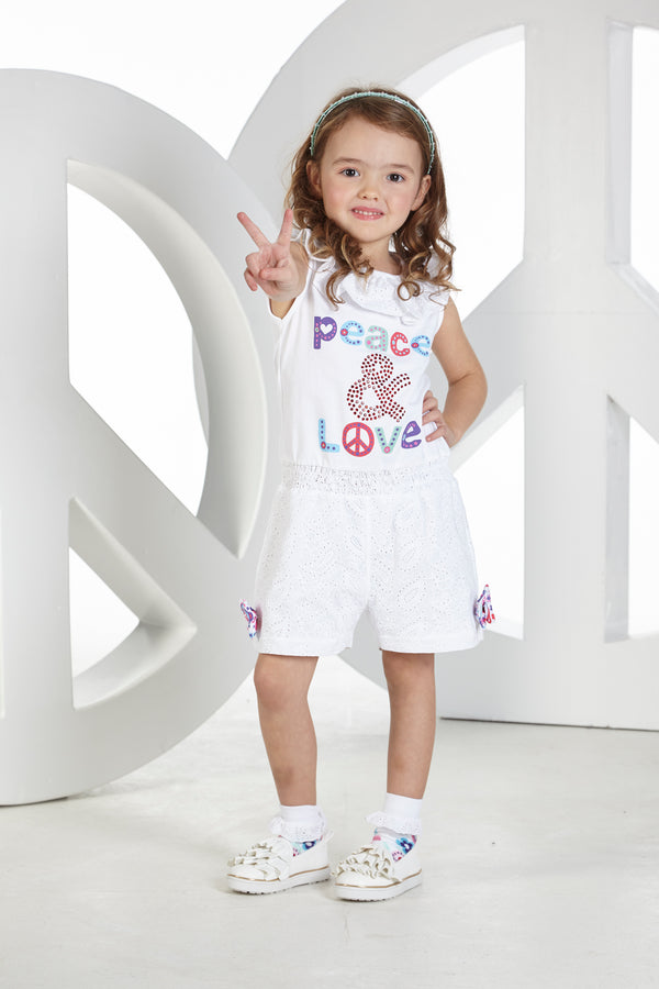 SS19 A Dee Girls Penelope Peace & Love Playsuit