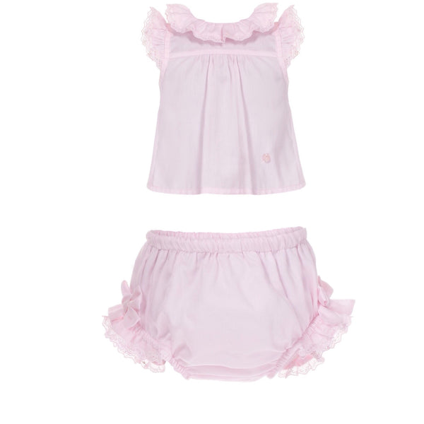 SS18 Patachou Girls Pink Bow Jam Pants Set