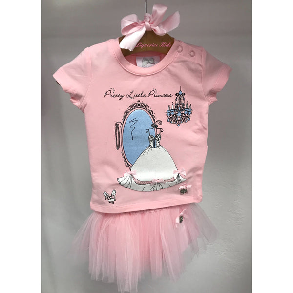 SS18 Le Chic Toddler Girls Princess Top & Pink Tulle Skirt Set