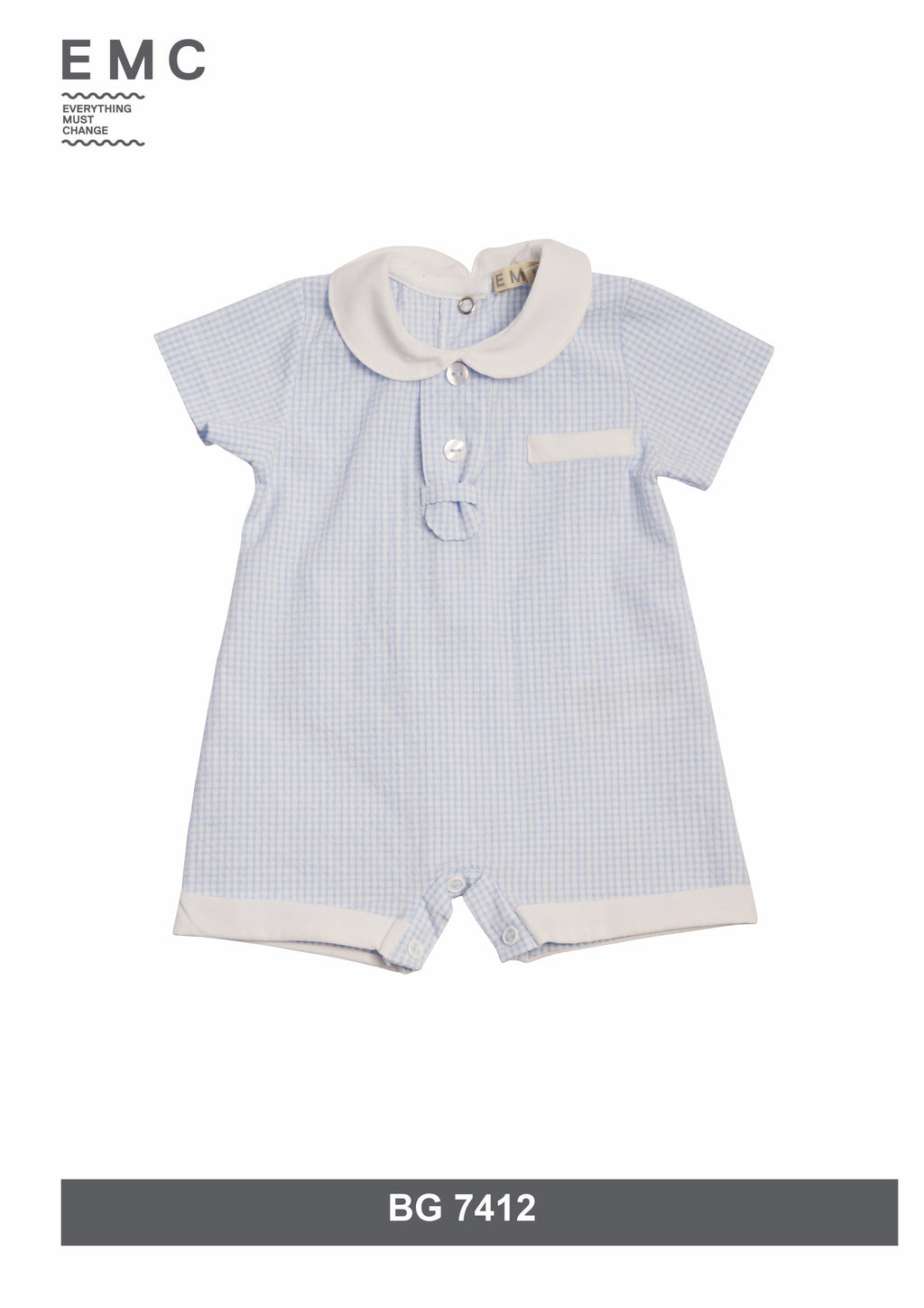 SS19 Everything Must Change Baby Boys Blue & White Check Romper