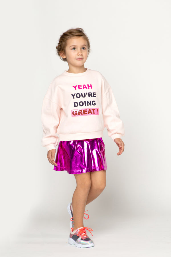 AW20 Billieblush Girls Pale Pink 'You're Doing Great' Sweatshirt