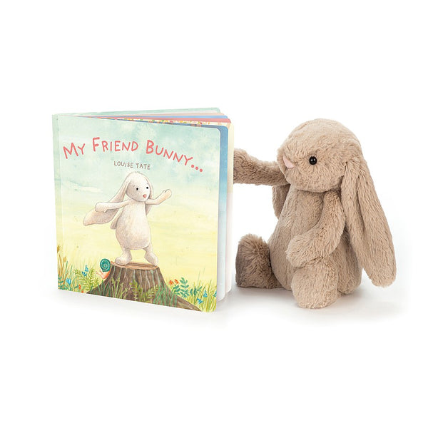 Jellycat My Friend Bunny Book & Beige Bashful Bunny Set