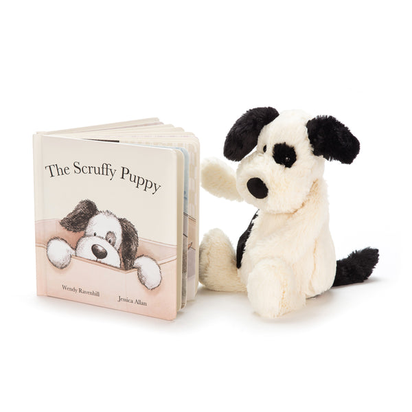 Jellycat Scruffy Puppy Book & Bashful Black & Cream Puppy Set