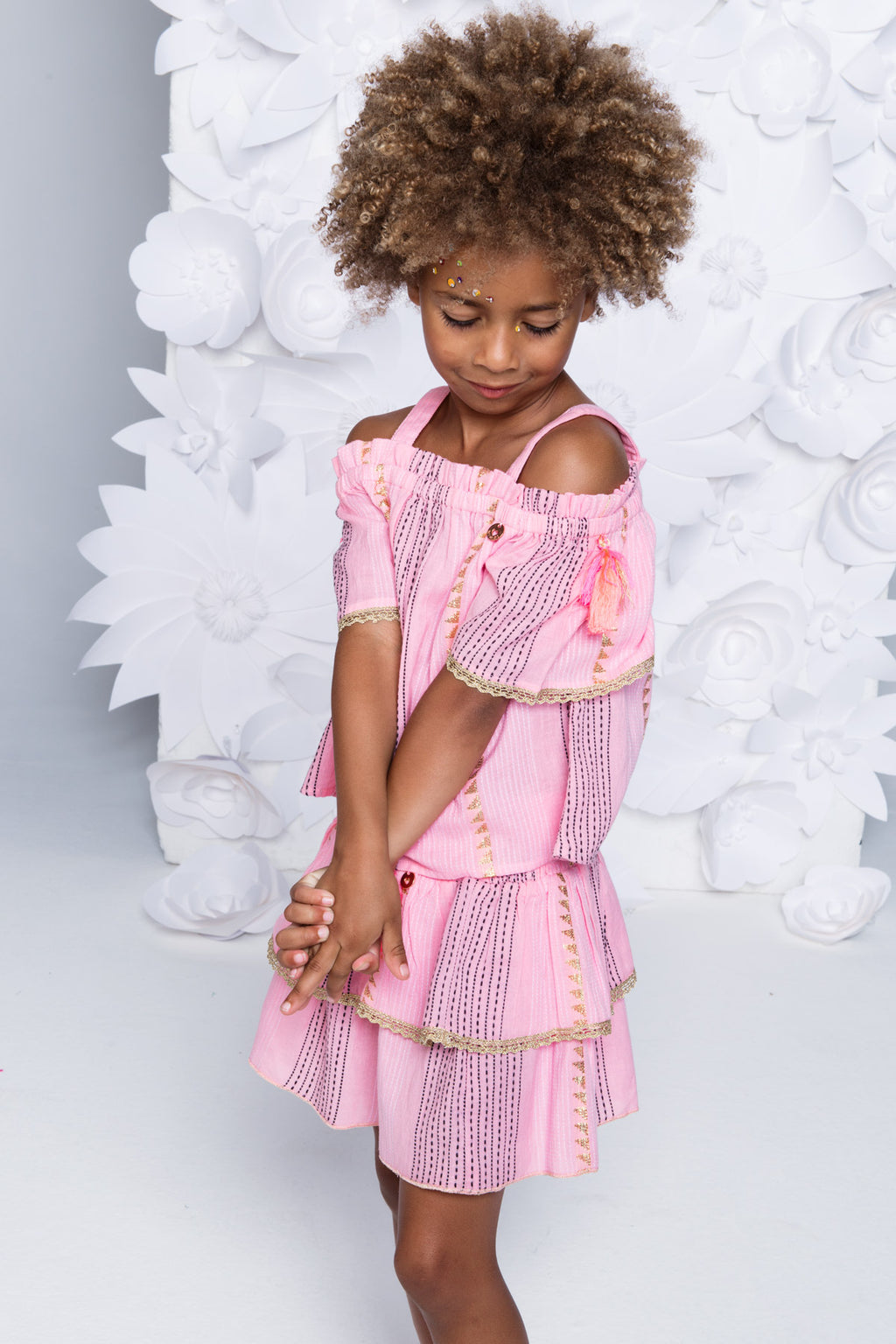 SS19 Mim-Pi Girls Pink & Gold Thread Skirt 205