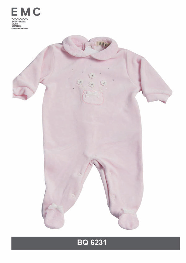 AW18 Everything Must Change Baby Girls Pink Diamante Babygrow