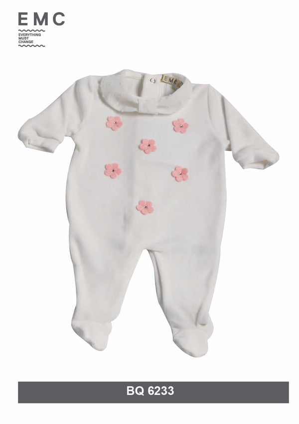 AW18 Everything Must Change Baby Girls Ivory & Pink Flower Babygrow