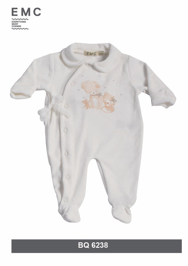 AW18 Everything Must Change Baby Girls Ivory Gold Stud Babygrow
