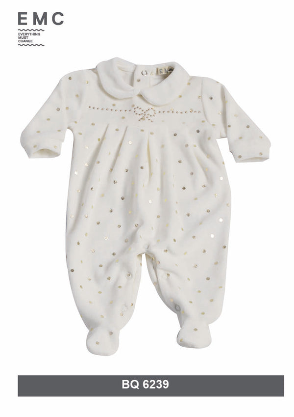 AW18 Everything Must Change Baby Girls Ivory & Gold Spots Babygrow