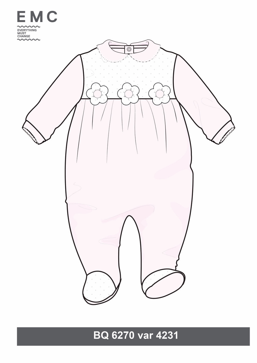 SS19 Everything Must Change Baby Girls Pink & White Flowers Babygrow