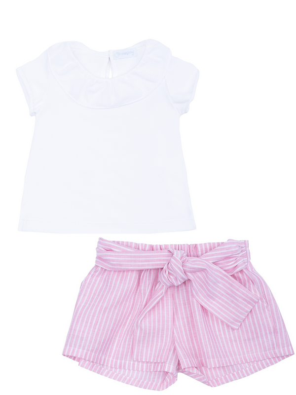 SS19 Laranjinha Girls Pink & White Stripe Shorts Set V9528 & V9506