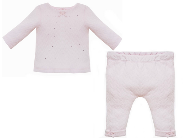 AW19 Patachou Baby Girls Pink Bow & Swarovski Elements Two-Piece Set