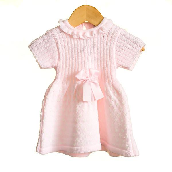 AW18 Zip Zap Baby Girls Pink Knitted Bow Dress MM0331