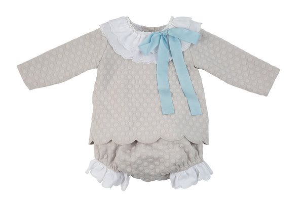 AW19 Rochy Baby Girls Grey & Blue Bow Jam Pants Set C06023