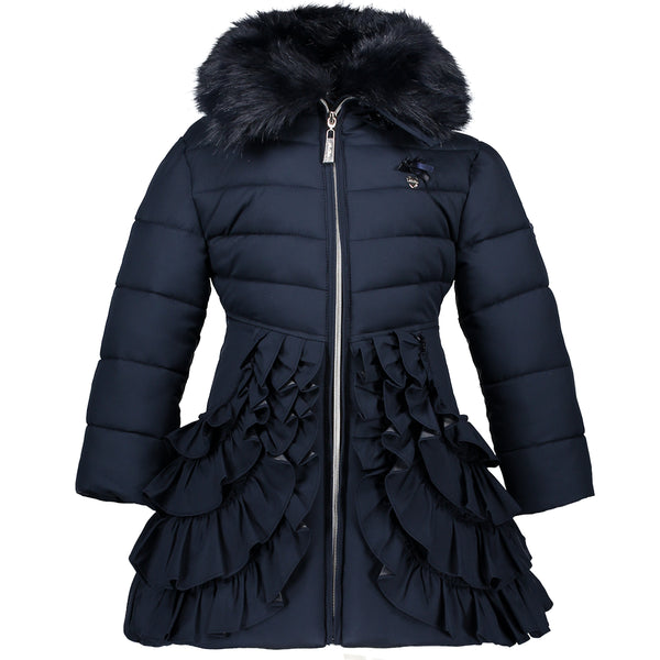 AW18 Le Chic Girls Navy Ruffle Hooded Coat 2-12 Years
