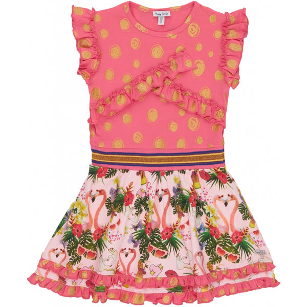 SS20 Happy Calegi Girls Pink & Gold Flamingo Dress