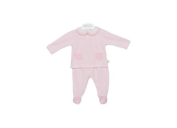 Baby Gi Baby Girls Pink Velour Two-Piece Set