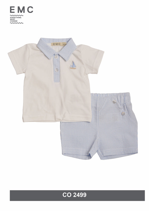 SS19 Everything Must Change Baby Boys Blue & White Check Shorts Set