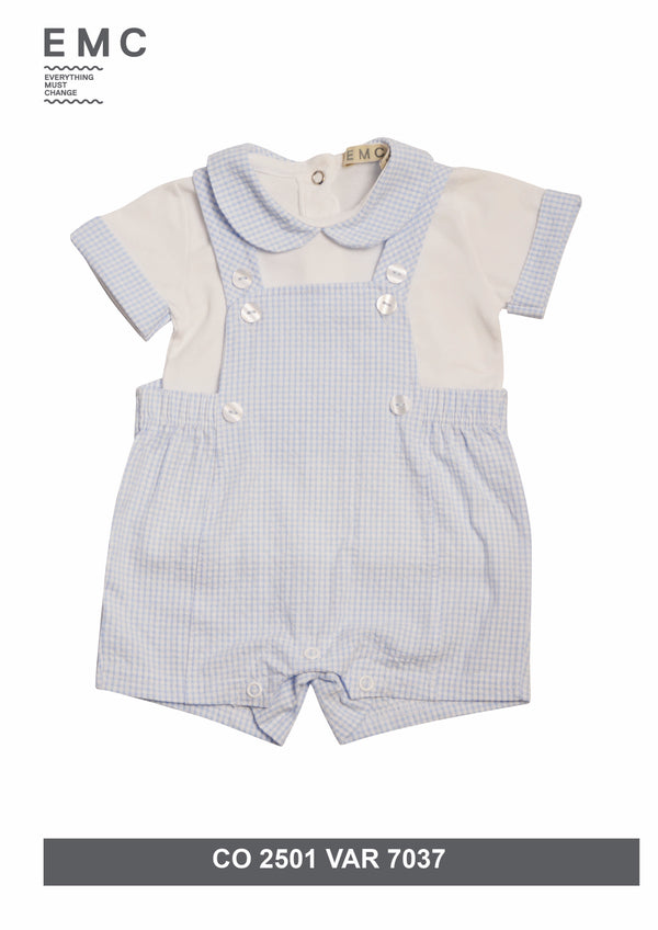 SS19 Everything Must Change Baby Boys Blue & White Check Romper Set
