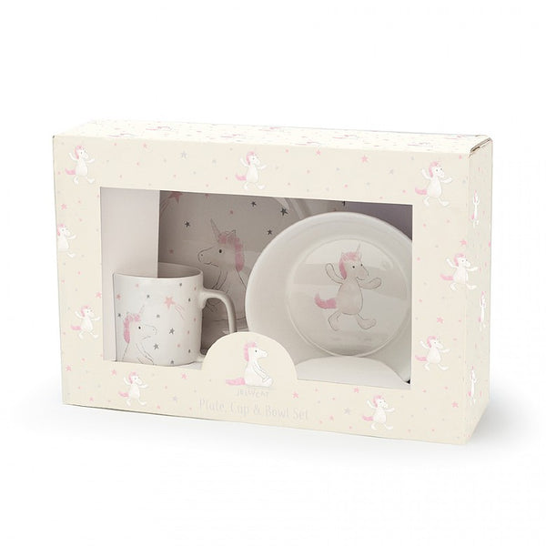 Jellycat Bashful Unicorn Bowl, Cup & Plate