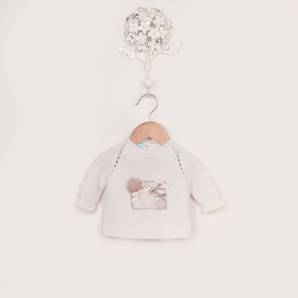 AW17 Floc Baby Girls Cream & Beige Knitted Two-Piece Set - Liquorice Kids