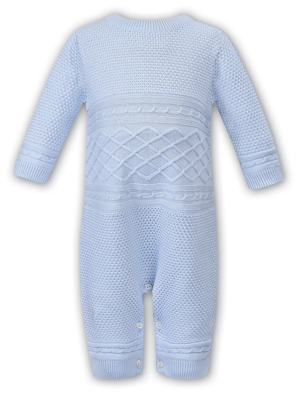AW19 Sarah Louise Baby Boys Blue Knitted Romper