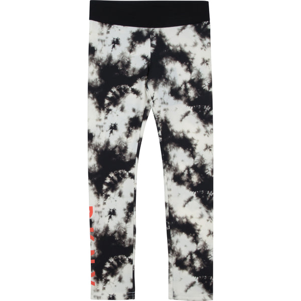 SS21 DKNY Girls Black & White Tie Dye Leggings