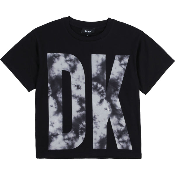 SS21 DKNY Girls Black & White Tie Dye Top