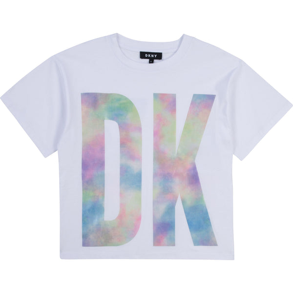 SS21 DKNY Girls White Tie Dye Top