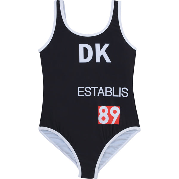 SS21 DKNY Girls Black Logo Swimming Costume