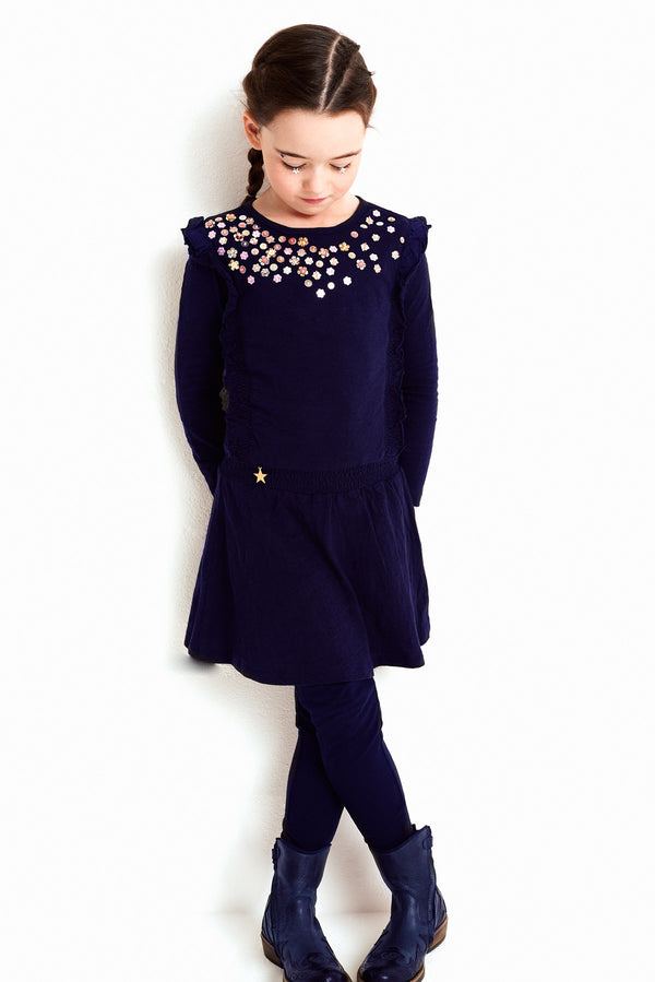 AW18 Mim-Pi Girls Navy Blue Sequin Dress 102